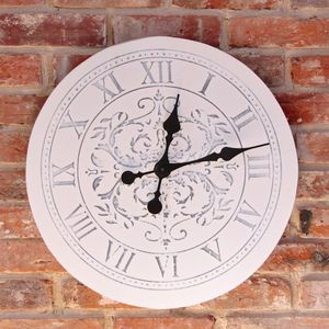 Extra Large Distressed White Damask Wall Clock - clocks