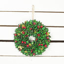 Red Leaf And Berry Christmas Wreath