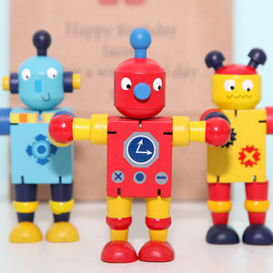 Three Wooden Or Wind Up Robots And Personalised Bag - traditional toys & games