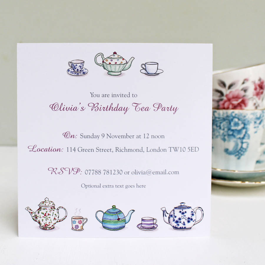 Personalised Tea Party Invitations Violet Accent Text
