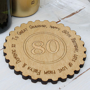 Personalised 80th Birthday Keepsake Coaster - 80th birthday gifts