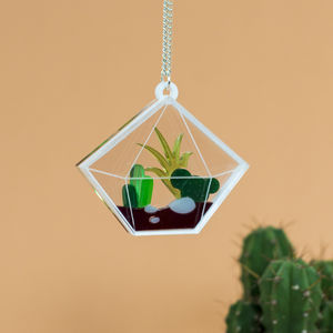 Diamond Cacti Terrarium Necklace - Less Ordinary Jewellery