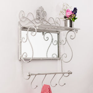 Metal White Grey Shelf Mirror With Hooks - mirrors