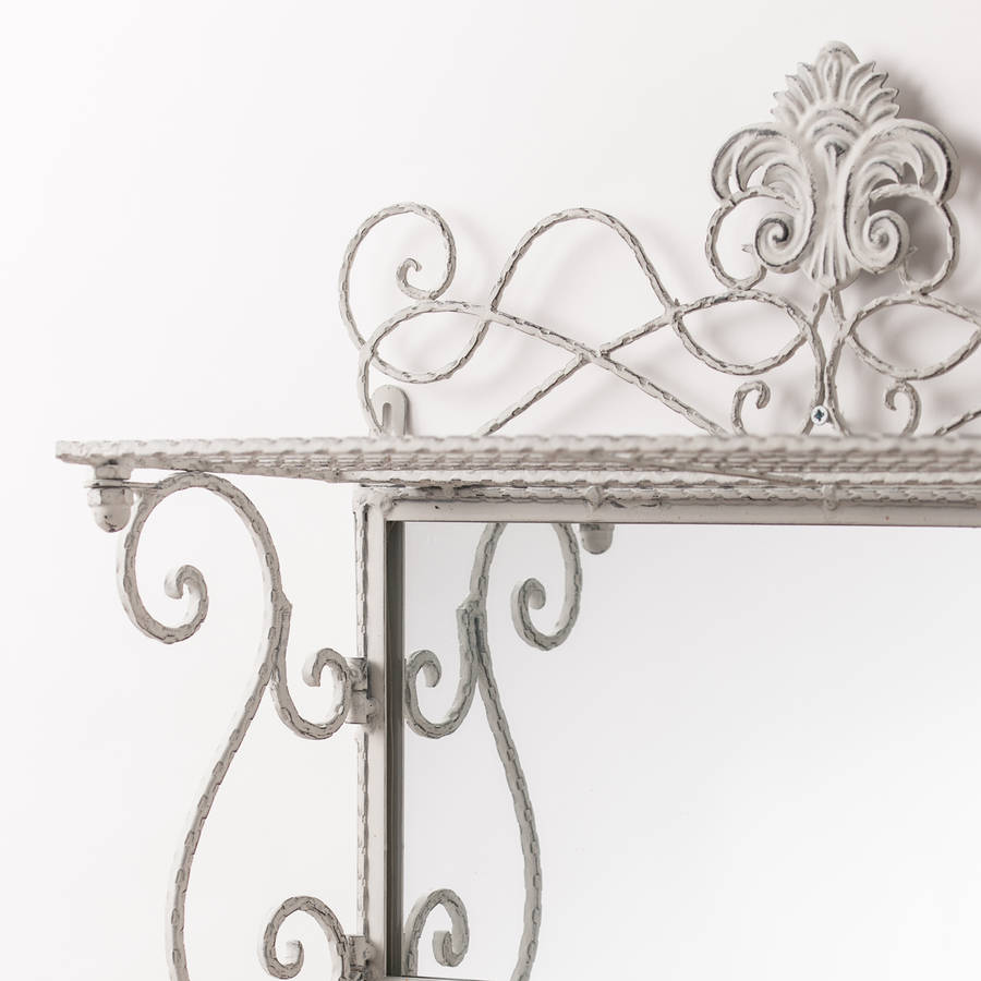 Metal White Grey Shelf Mirror With Hooks By Hand Crafted