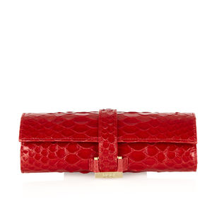 Red Exotic Python Leather Jewel Travel Roll - jewellery storage & trinket boxes