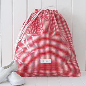 Gingham Personalised Drawstring Kit Bag - boys' bags & wallets