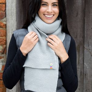 Button Trim Scarf - scarves