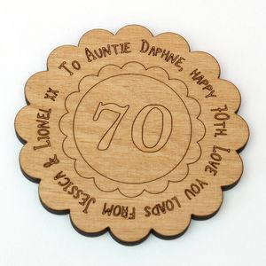 Personalised 70th Birthday Message Coaster - card alternatives