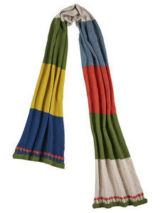 Knitted Lambswool Colour Block Scarf - women's accessories