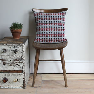 40cm Knitted Lambswool London Soldiers Cushion - patterned cushions