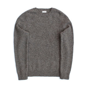 Clunie Classic Lambswool Crew In Oyster