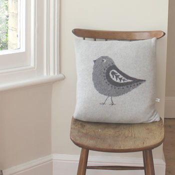 40cm Knitted Lambswool Bird Cushion