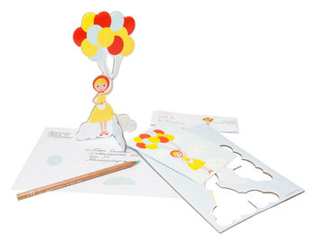 Girl And Balloons Pop Out Card
