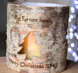 Personalised Festive Birch Bark Candle Holder
