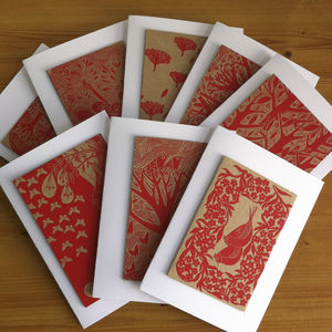 Pack Of Eight Hand Screen Printed Greetings Cards
