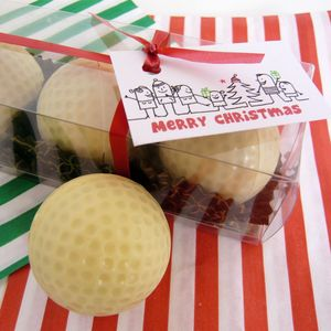 Chocolate Golf Balls Set Of Three In Gift Box - stocking fillers