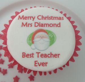 Best Teacher Christmas Cupcake Toppers