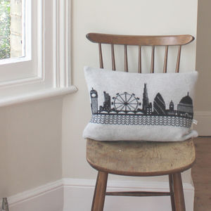 Knitted Lambswool London Skyline Cushion - bedroom