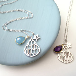Geometric Honeycomb Drop And Star Necklace