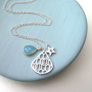 Geometric Honeycomb Drop And Star Necklace - personalised jewellery