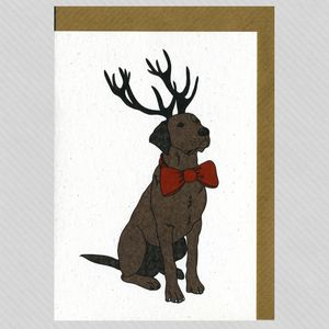 Illustrated Chocolate Labrador Deer Blank Card - christmas cards