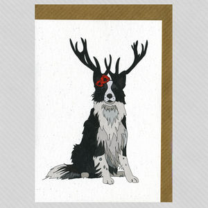 Illustrated Border Collie Deer Blank Card