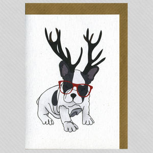 Illustrated French Bulldog Deer Blank Card - winter sale