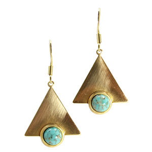 Cyra Triangle And Stone Earrings