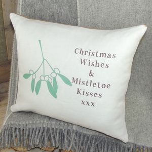 ` Christmas Wishes And Mistletoe Kisses ` Cushion