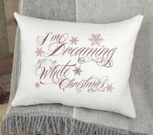 Linen `Dreaming Of A White Christmas` Cushion
