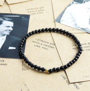Mens Onyx Struck Gold Bracelet - men's jewellery