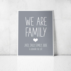 'We Are Family' Personalised Print With Family Names - posters & prints