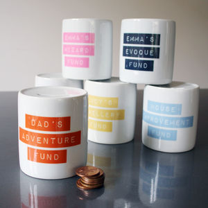 Personalised Retro Dymo Tape Dream Fund Money Box - gifts: under £25