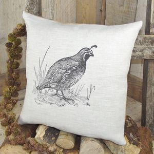 ' Quail ' Linen Cushion