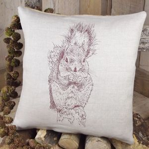 ' Squirrel ' Linen Cushion