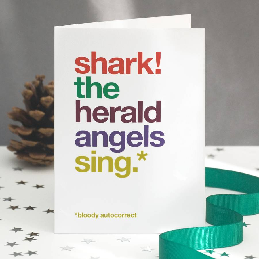 Autocorrect Shark Funny Christmas Card Single Or Pack By Wordplay