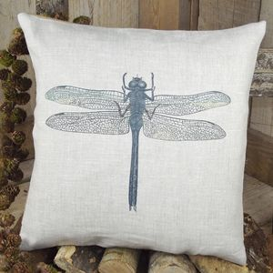 ' Dragonfly ' Linen Cushion - patterned cushions