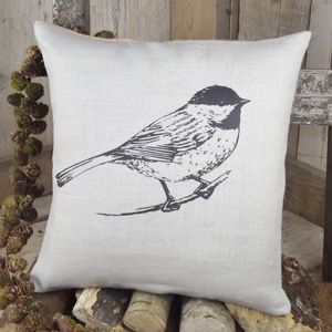 ' Coal Tit ' Linen Cushion