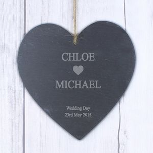 Heart Personalised Valentines Wedding Love Slate - signs