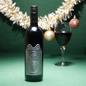 Personalised Christmas Red Wine With Pewter Label