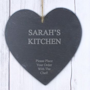 Large Engraved Personalised Heart Slate