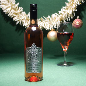 Personalised Christmas Rose Wine With Pewter Label
