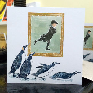 Pack Of Personalised 'Skating Penguins' Christmas Cards - seasonal cards