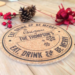Personalised Cork Christmas Placemats Set Of Six - christmas parties & entertaining