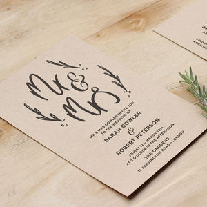 Mr And Mrs Wedding Stationery - save the date cards