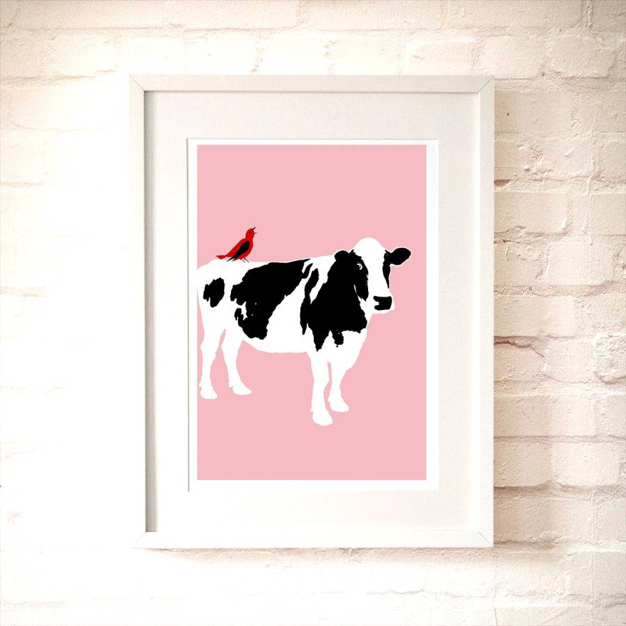Cow On Pink Nursery Art Print