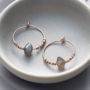 Rose Gold And Labradorite Hoops - jewellery for women
