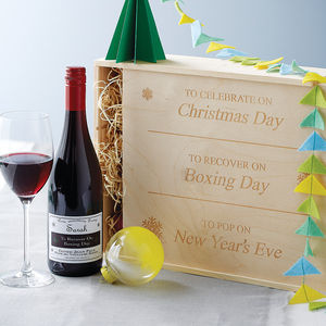 Personalised Christmas Wine Box - gifts for families