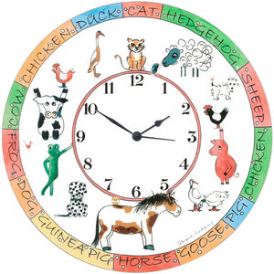 Personalised Farmyard Animal Clock GIRLS - children's room accessories