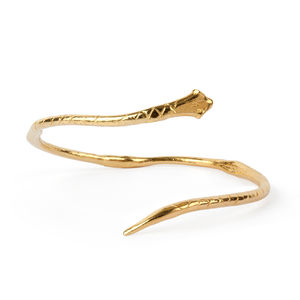 18k Gold Plated Brass Snake Bangle - bracelets & bangles